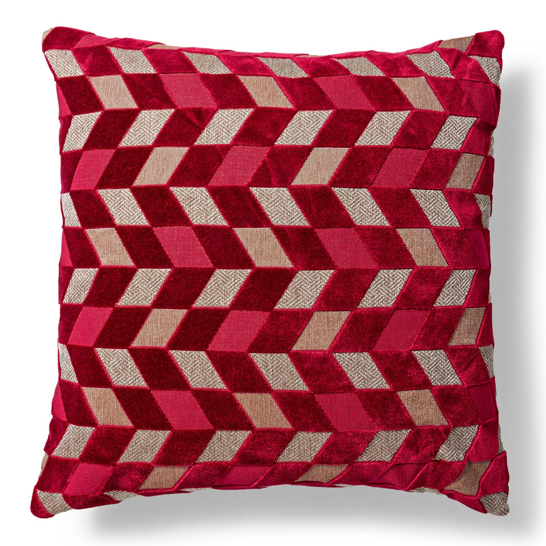 geometric merlot velvet pillow