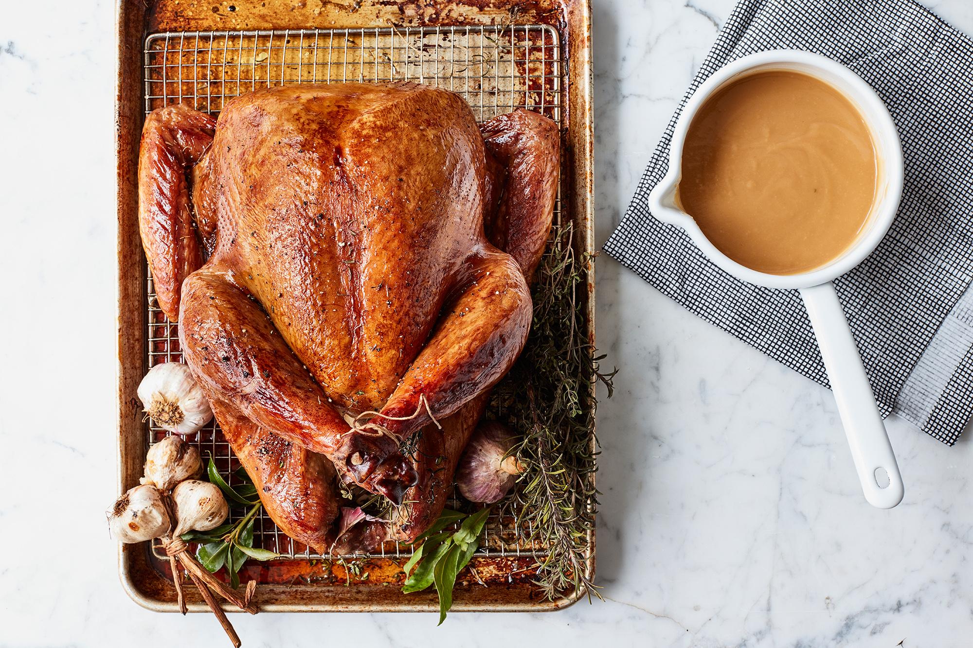 brown sugar brined roast turkey and gravy