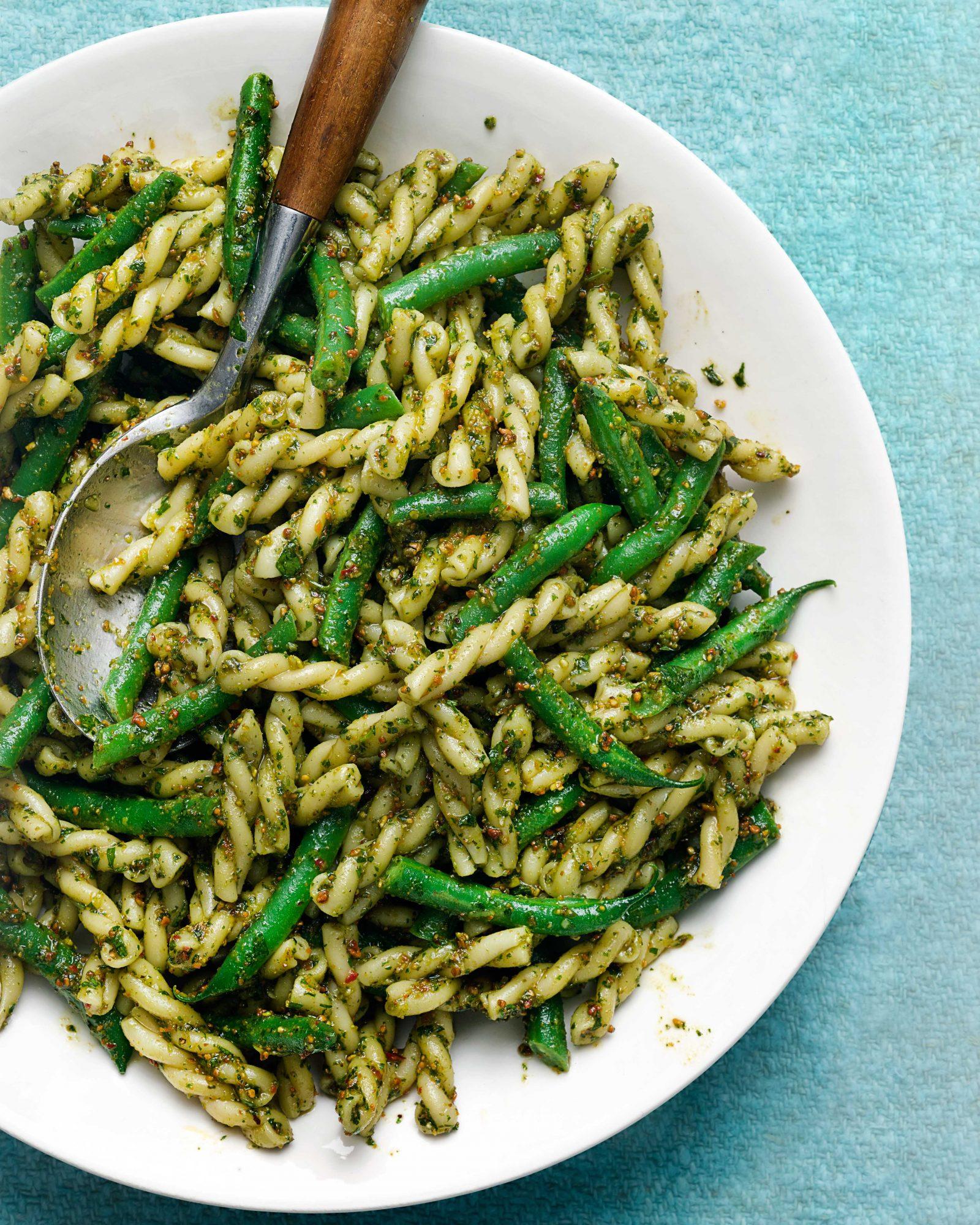 Pistachio-Citrus Pesto with Green Beans & Gemelli