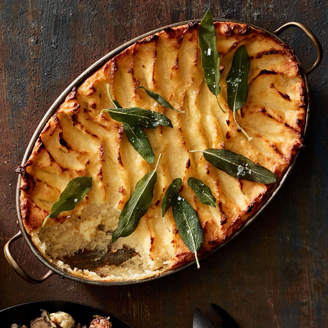 baked parsnip potato mash with fried sage leaves