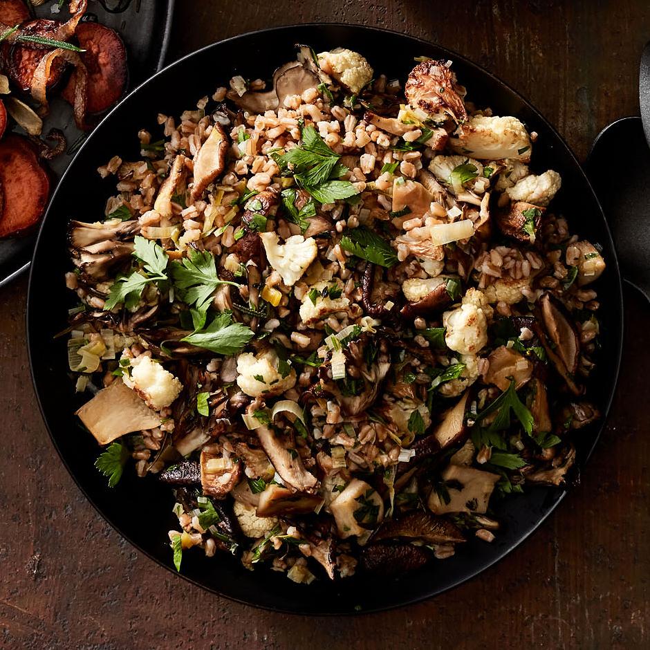 farro stuffing with roasted mushrooms cauliflower