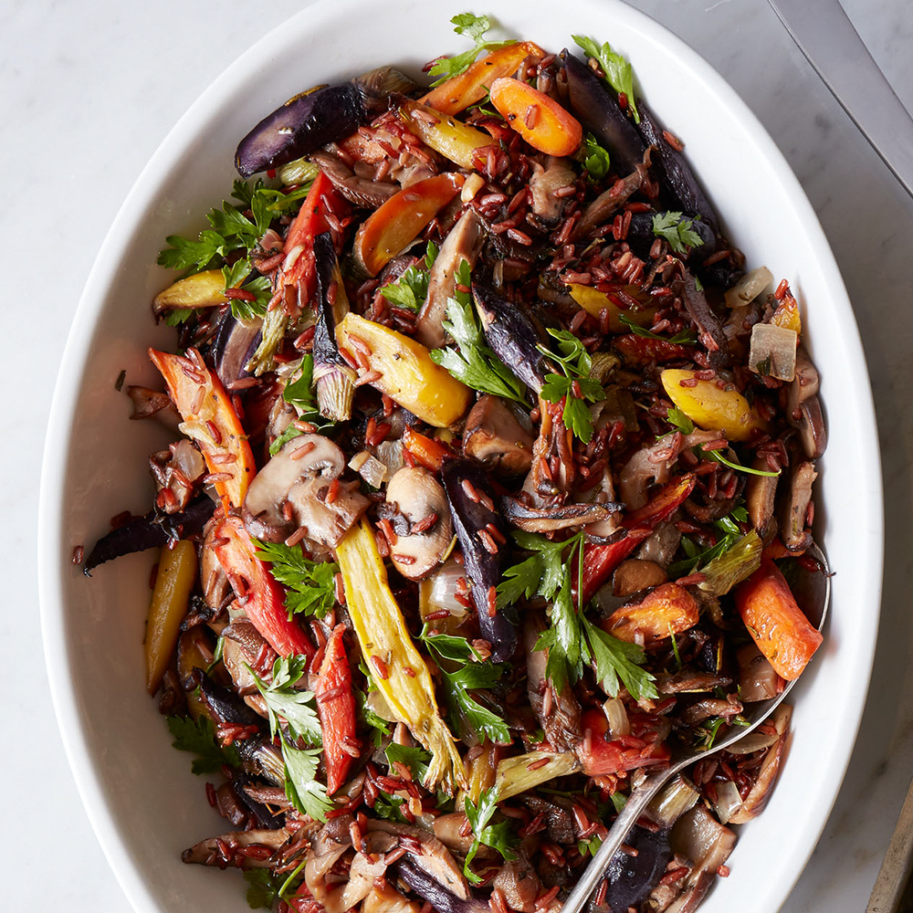 Mushroom & Red Rice Stuffing with Roasted Carrots