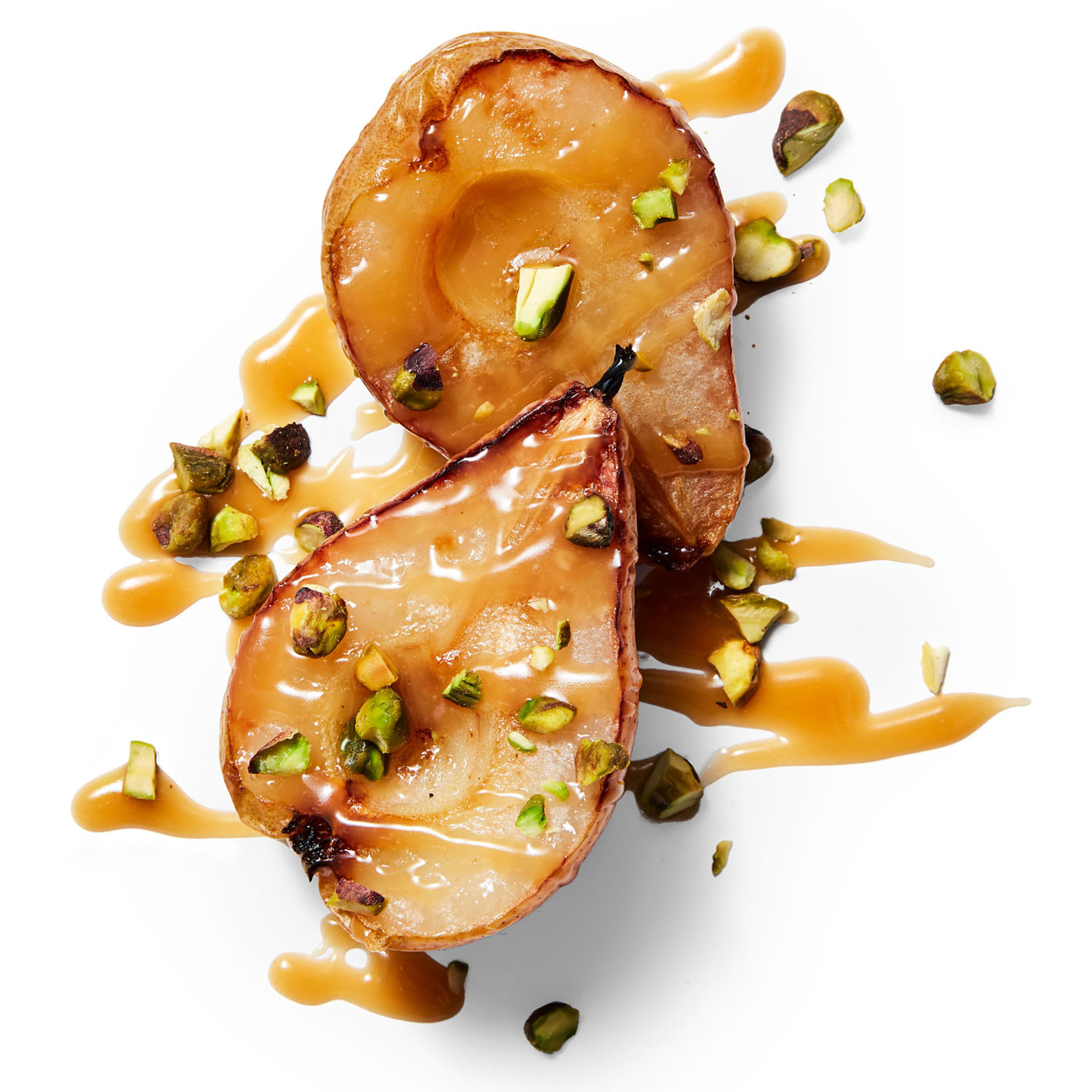 roasted pears with butterscotch sauce pistachios