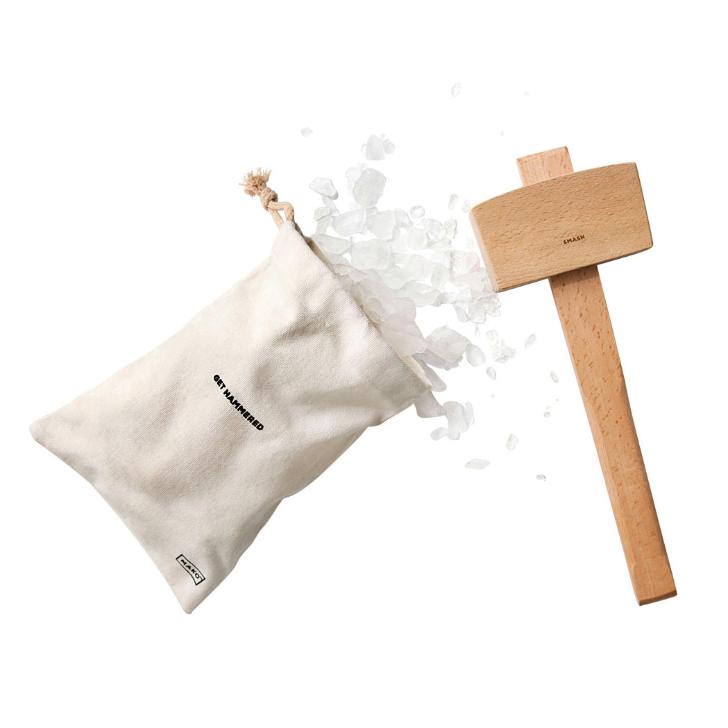 get hammered ice bag and wooden mallet