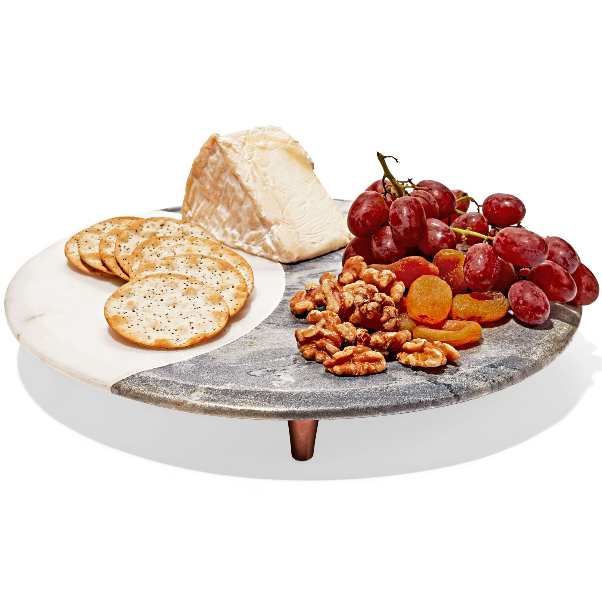 marble and copper footed cheese board with smorgasbord spread