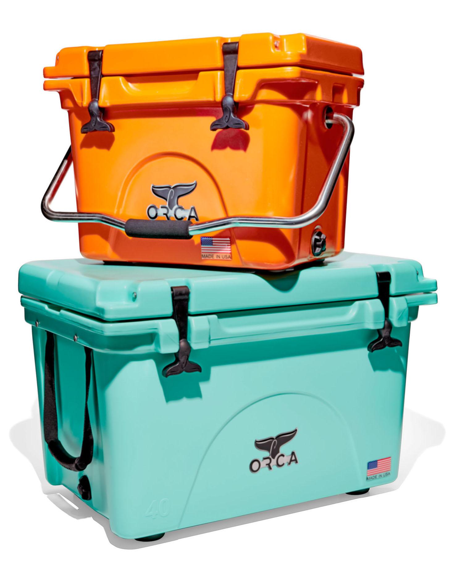 orange and seafoam green orca coolers