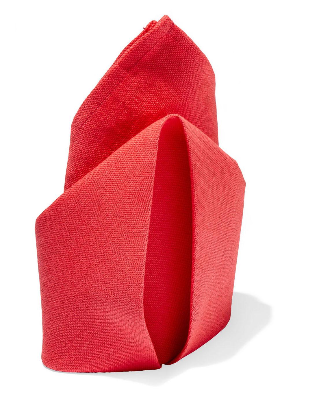 red origami cloth napkin