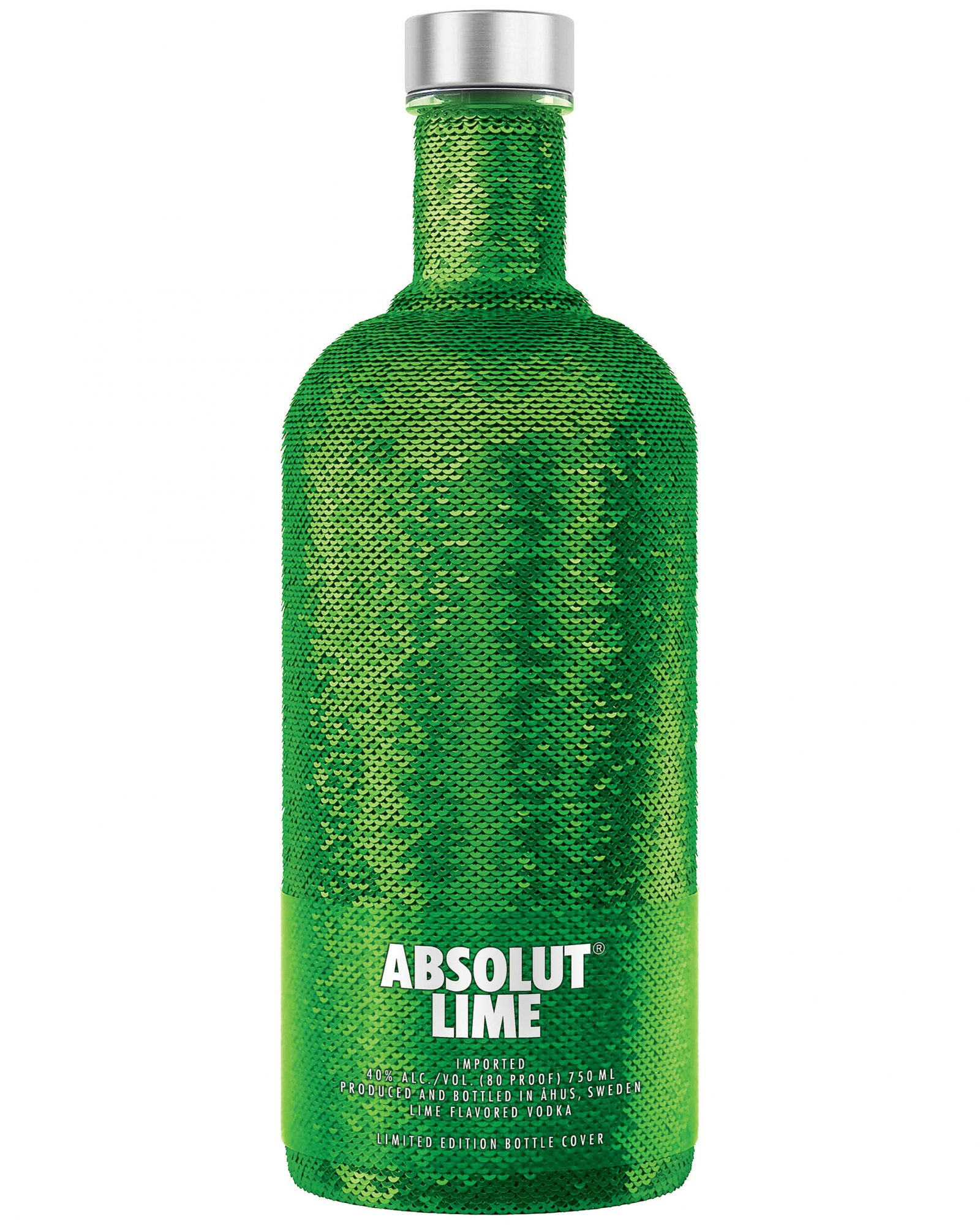 green sequin lime absolut bottle