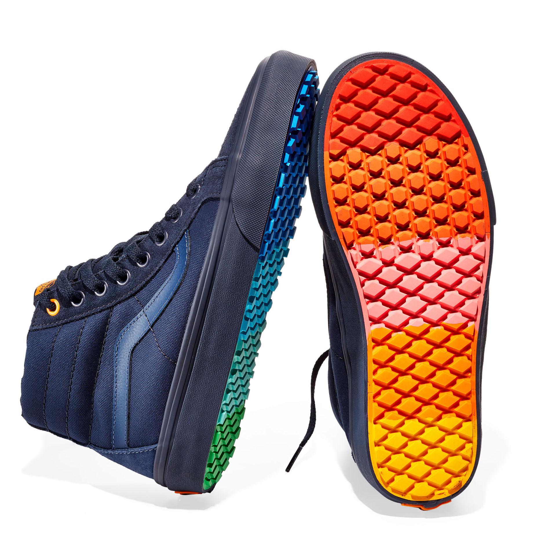 multi-colored vans high-top sneakers
