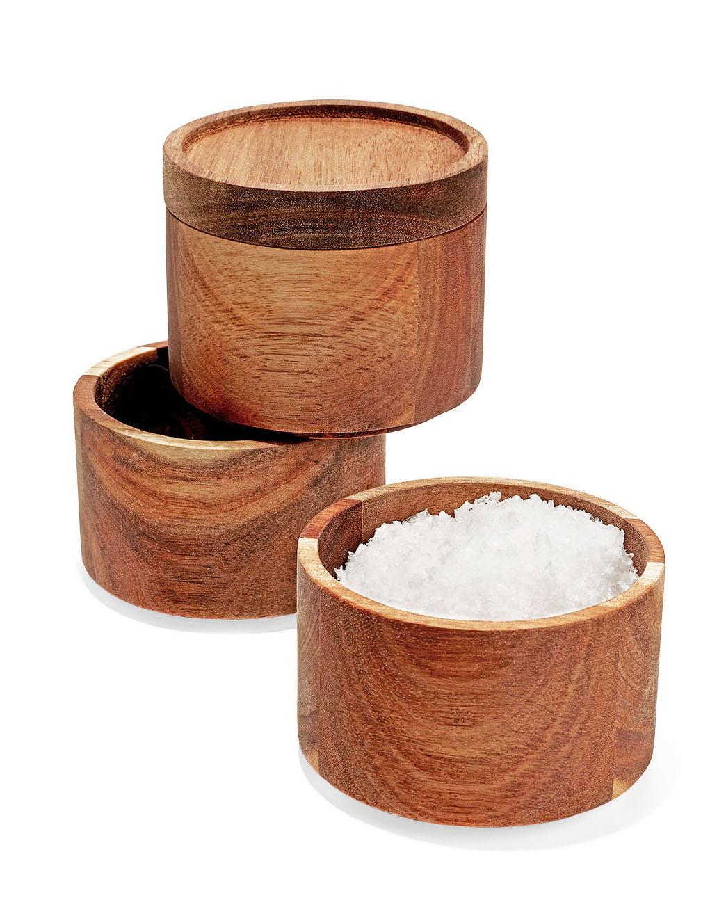 three wood stacking salt boxes