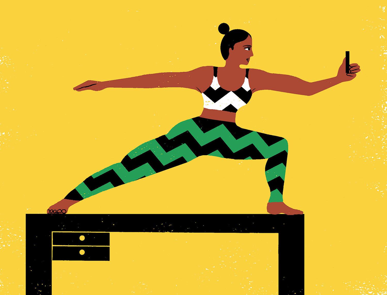 woman doing yoga on desk illustration