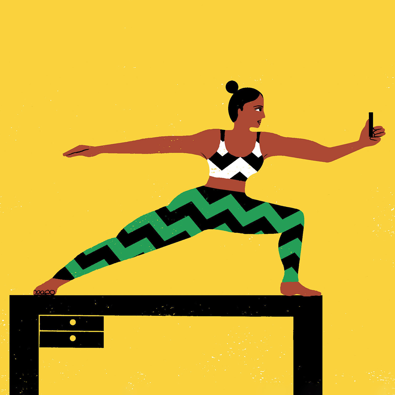 illustration of woman in warrior pose with phone