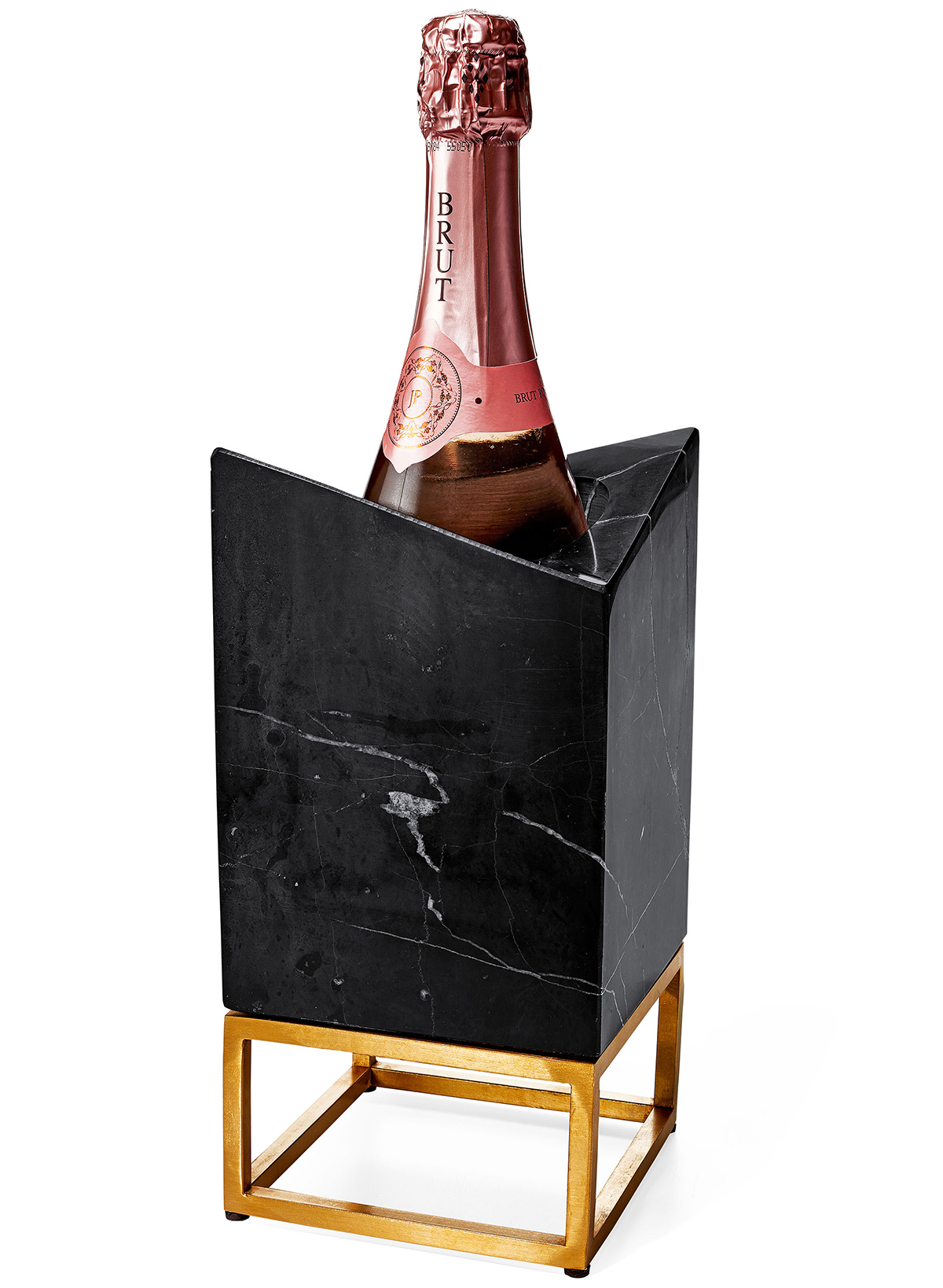 marble and gold wine chiller