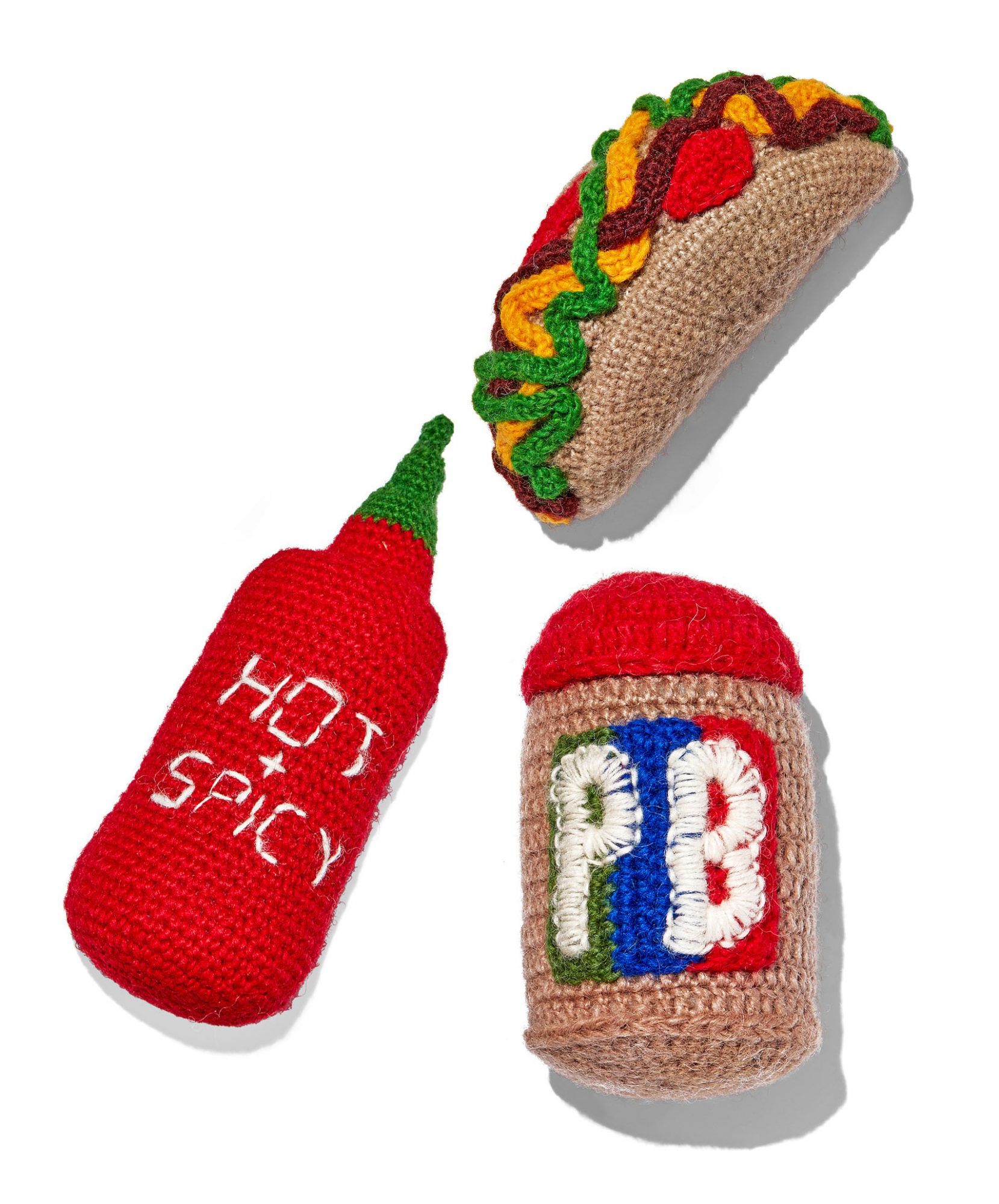 hand knit dog toys
