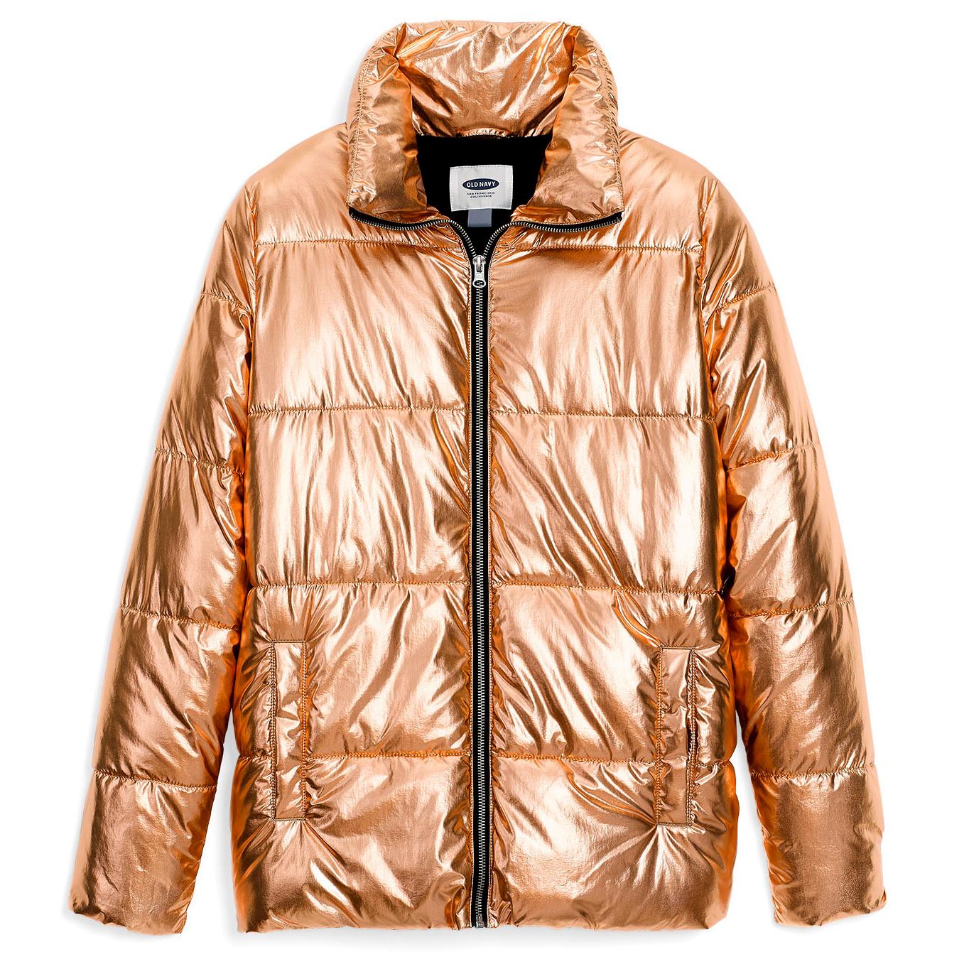 old navy metallic rose gold puffer jacket
