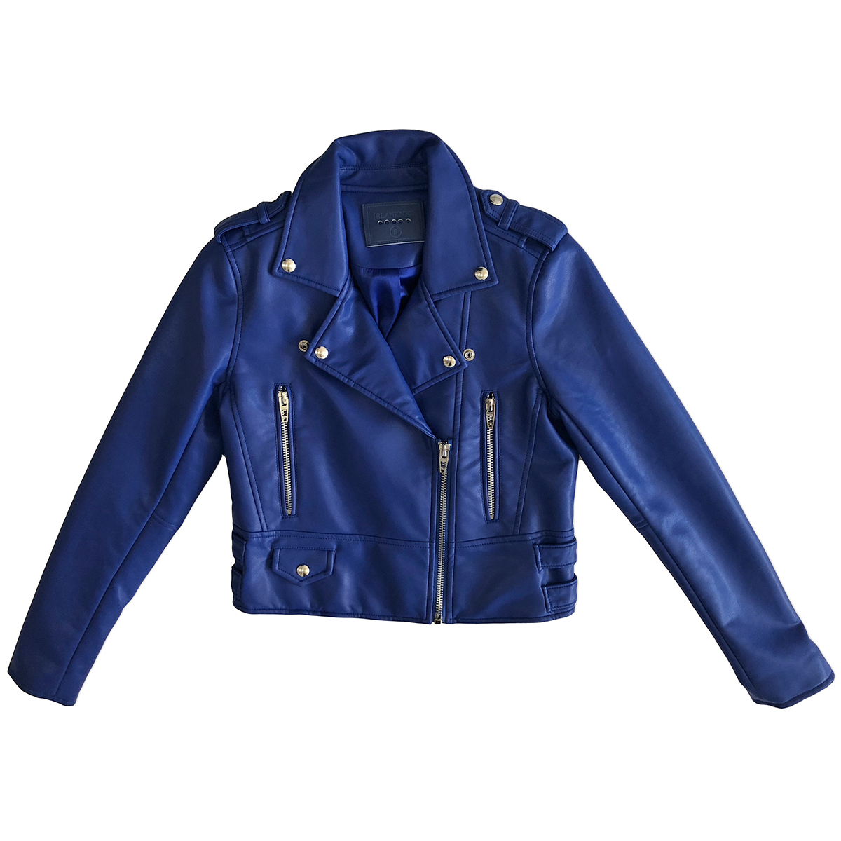 faux leather jacket blank nyc blue