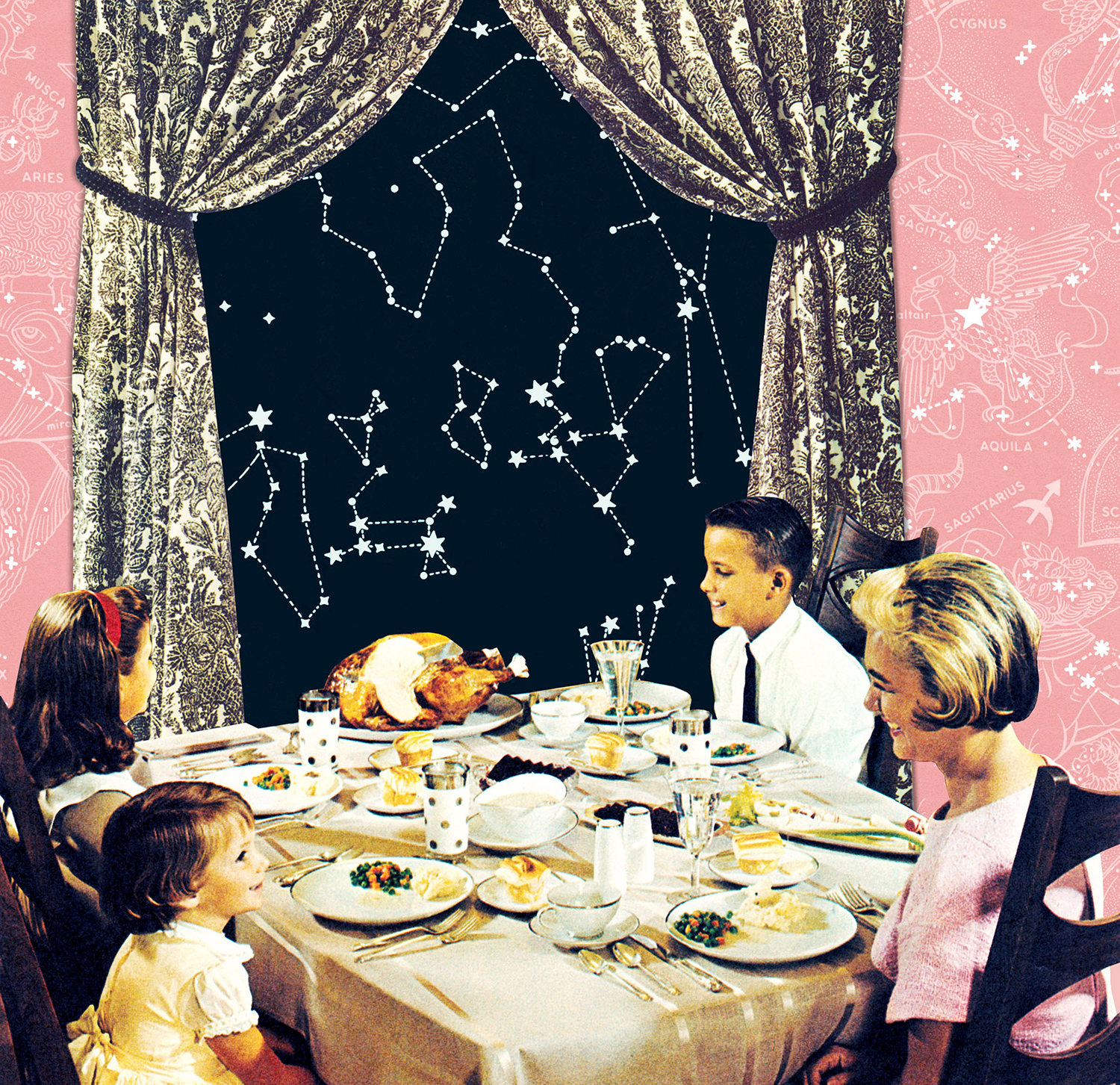 retro illustration of family at table with astrology