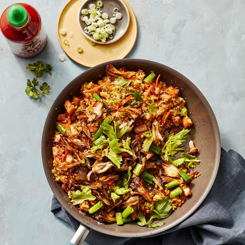 stir fried cauliflower and broccoli rice with turkey
