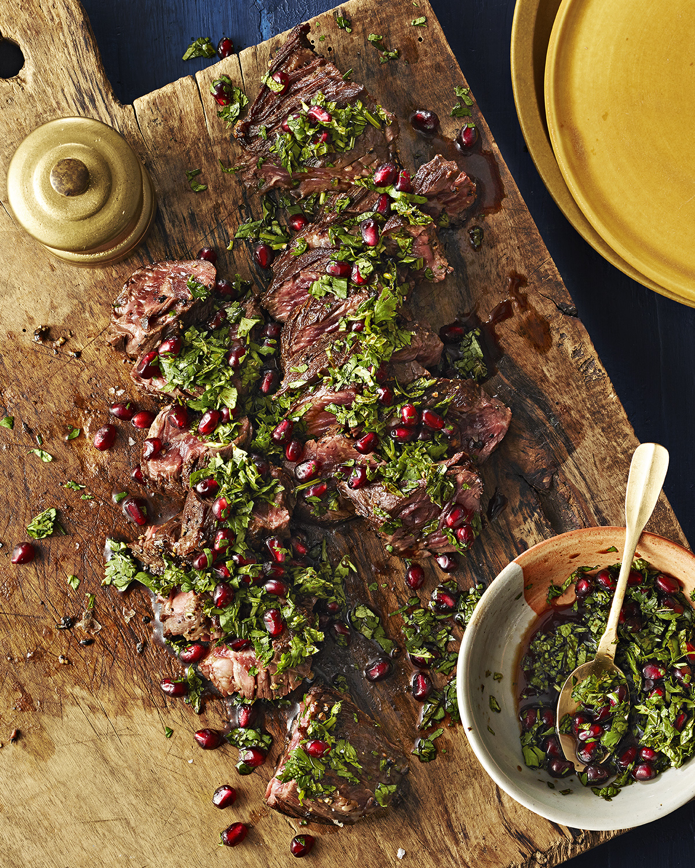 Hanger Steak with Pomegranate Chimichurri