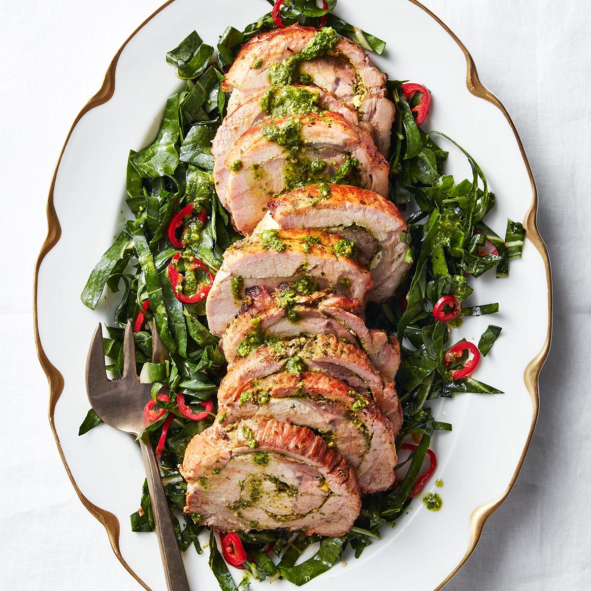 Chard Pesto-Stuffed Pork Loin