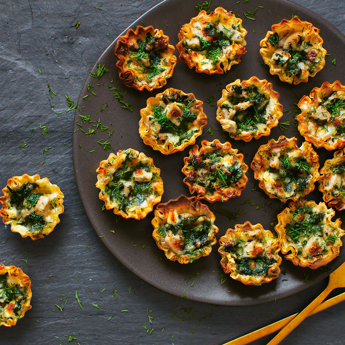 chicken sausage spinach and feta phyllo cups