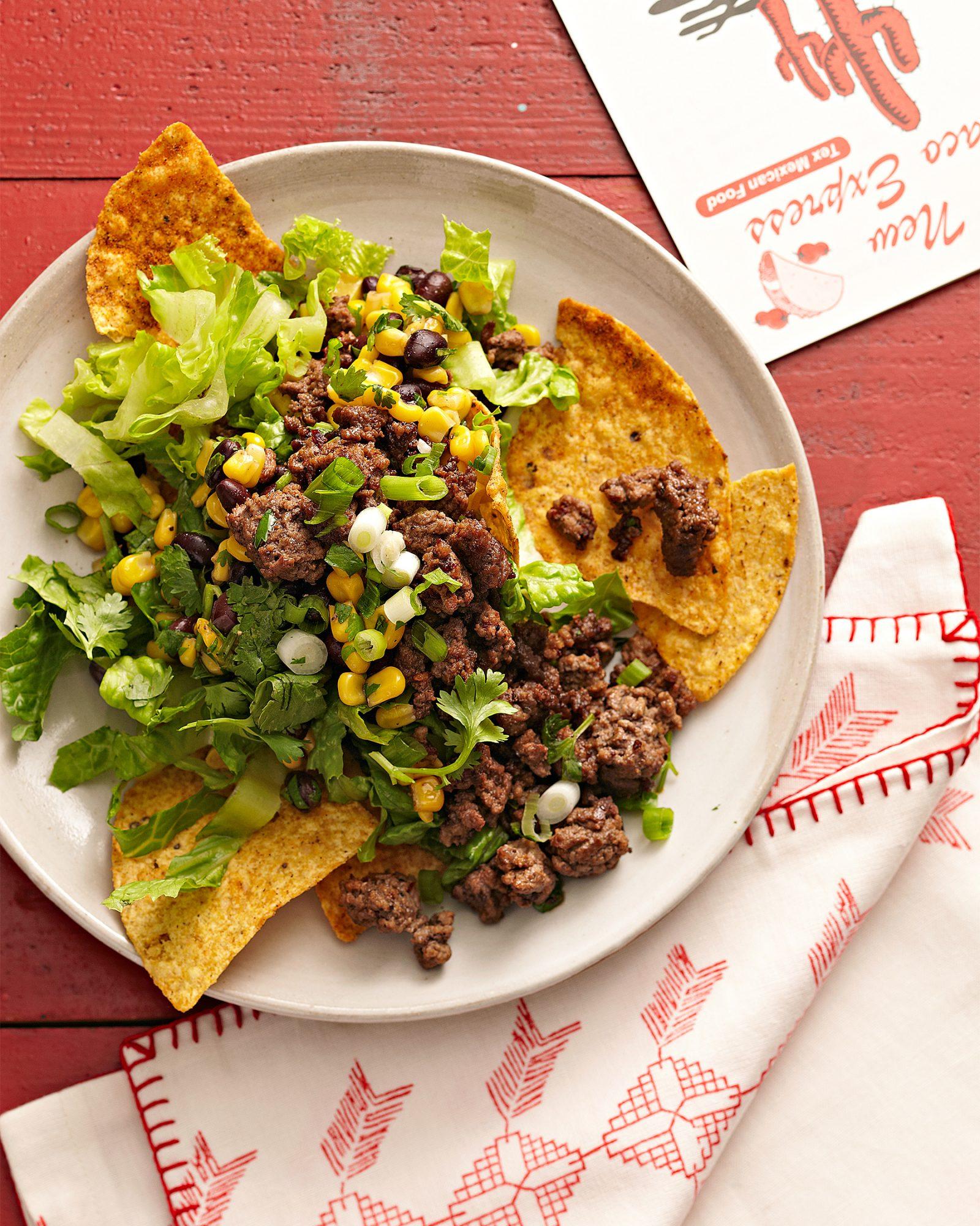 spicy beef taco salad
