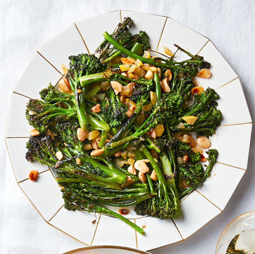 charred broccolini with brown butter and marcona almonds