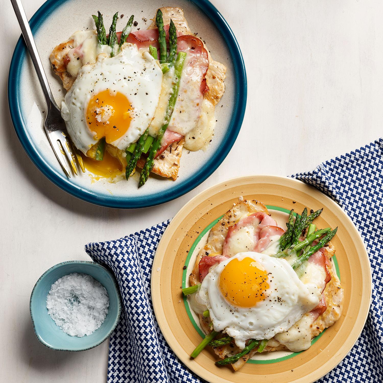 chicken paillard croque madame with asparagus