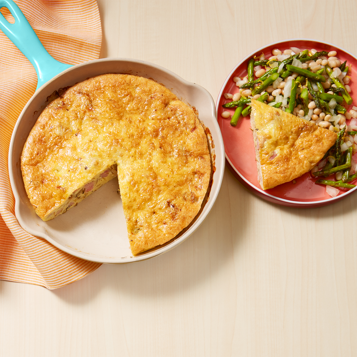 Ham & Cheese Crustless Quiche with Asparagus-Cannellini Salad