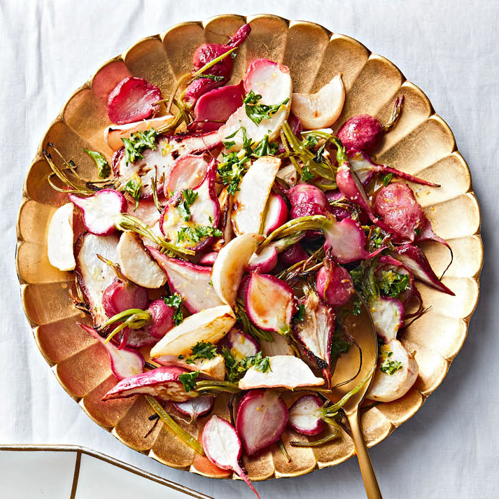 roasted turnips and radishes with lemon-garlic butter