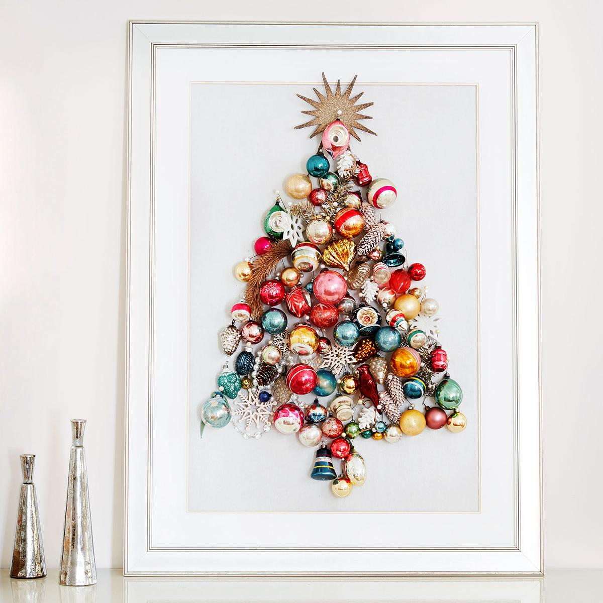 ornament tree shaped framed wall art