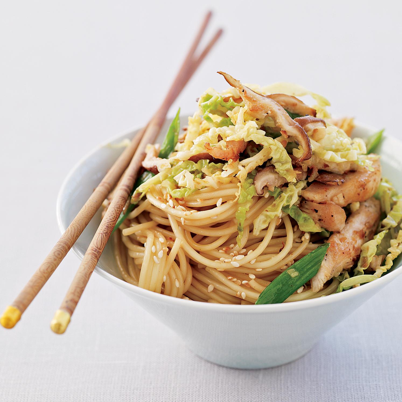 Ginger Chicken Stir-Fry with Sesame Noodles