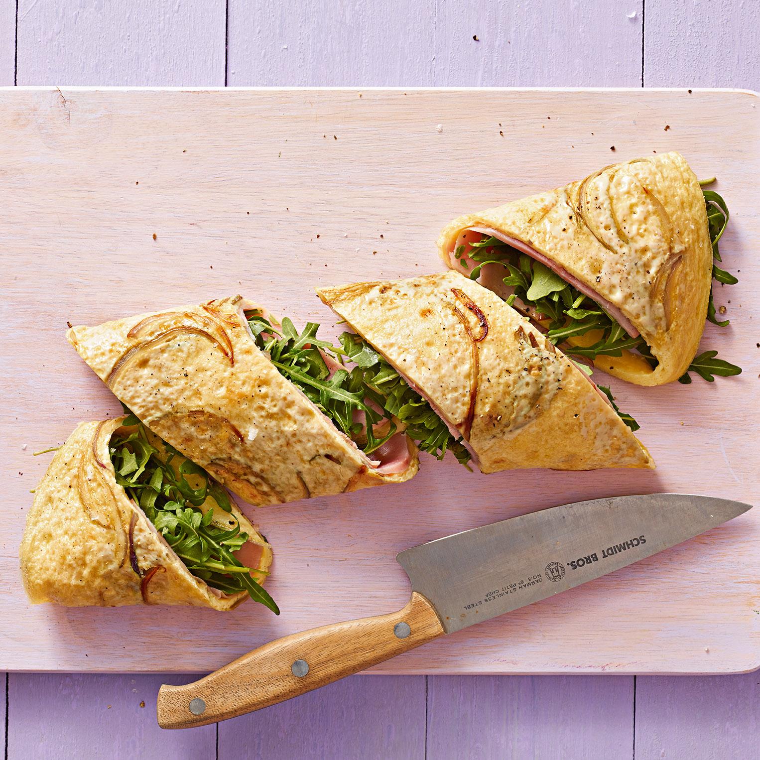 Arugula, Ham & Gouda Omelet Rolls