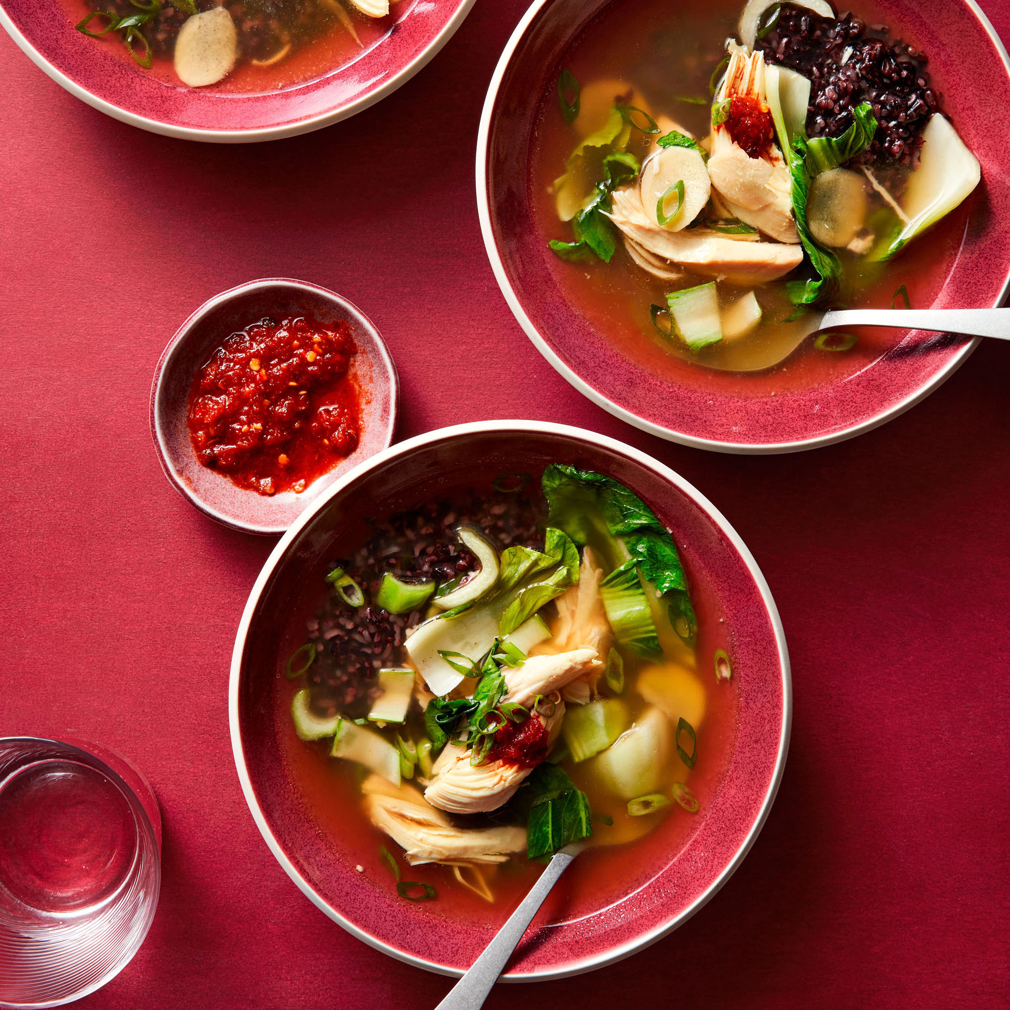 Chicken & Rice Soup with Bok Choy and Ginger