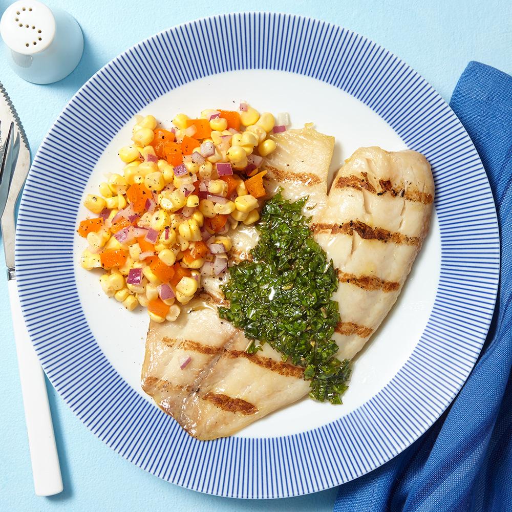 Grilled Tilapia with Chimichurri & Corn Salad