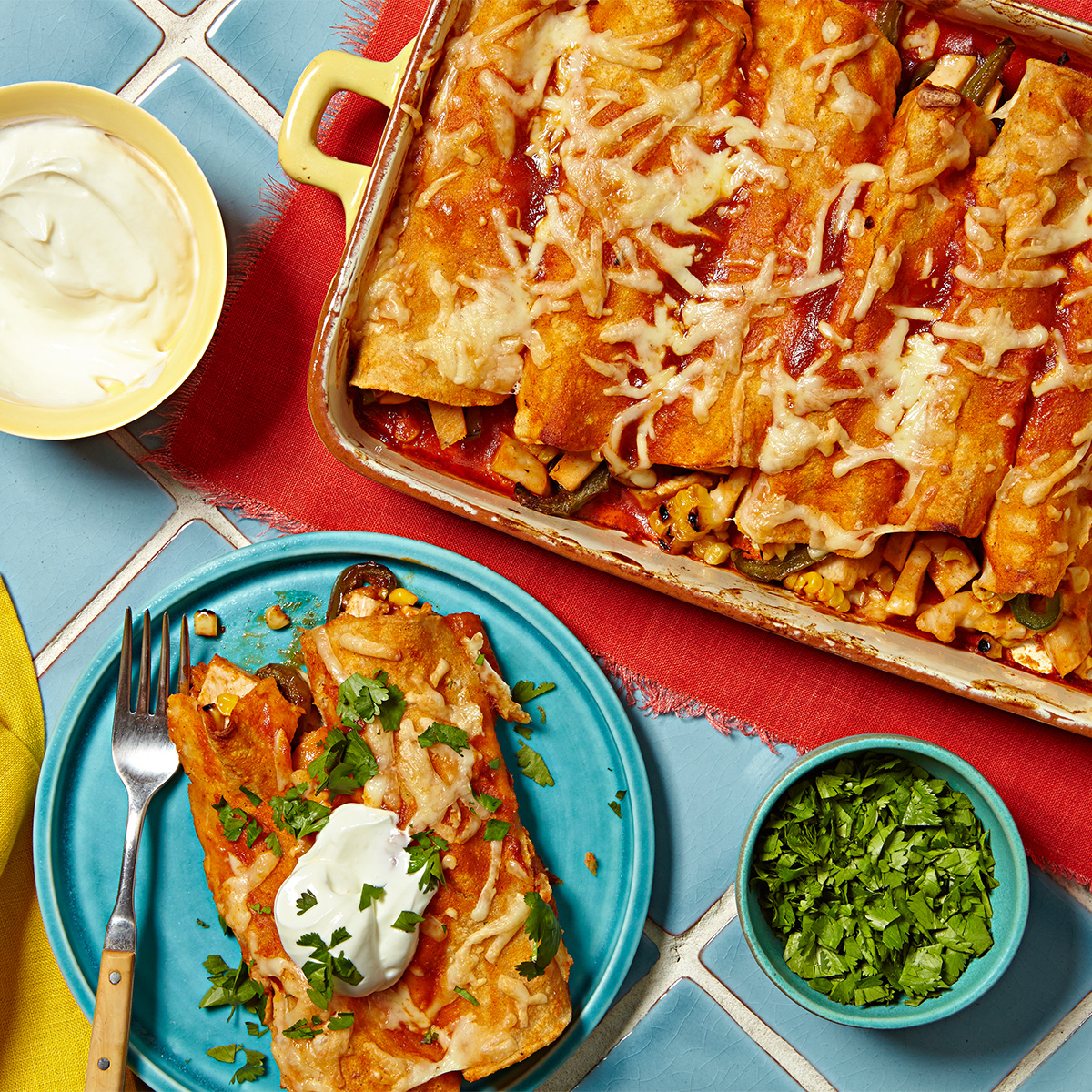Red Chicken Enchiladas