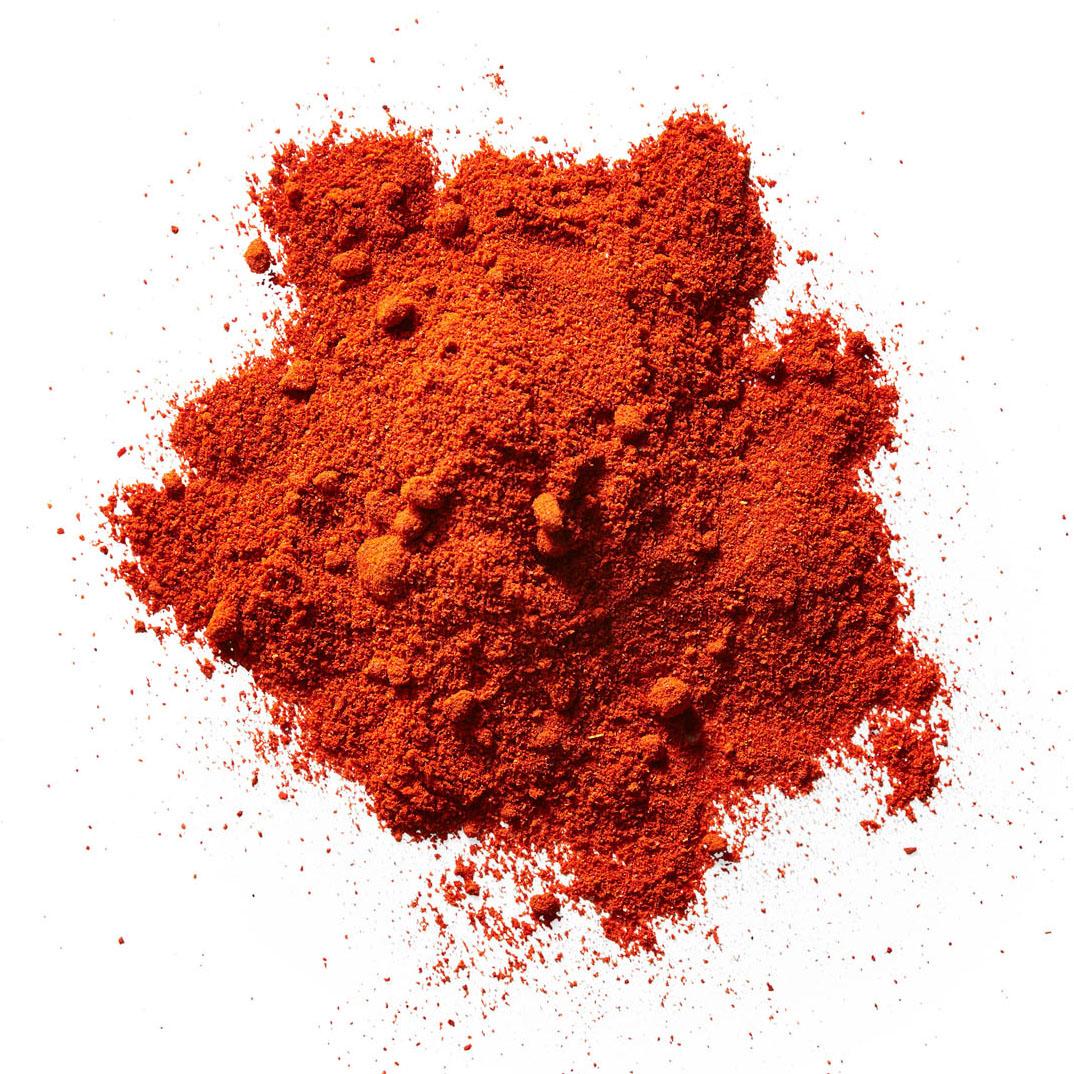 kashmiri chile powder against white background