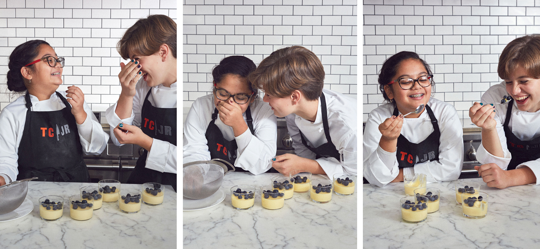 friends olivia acosta and nikki bidun make lemon posset
