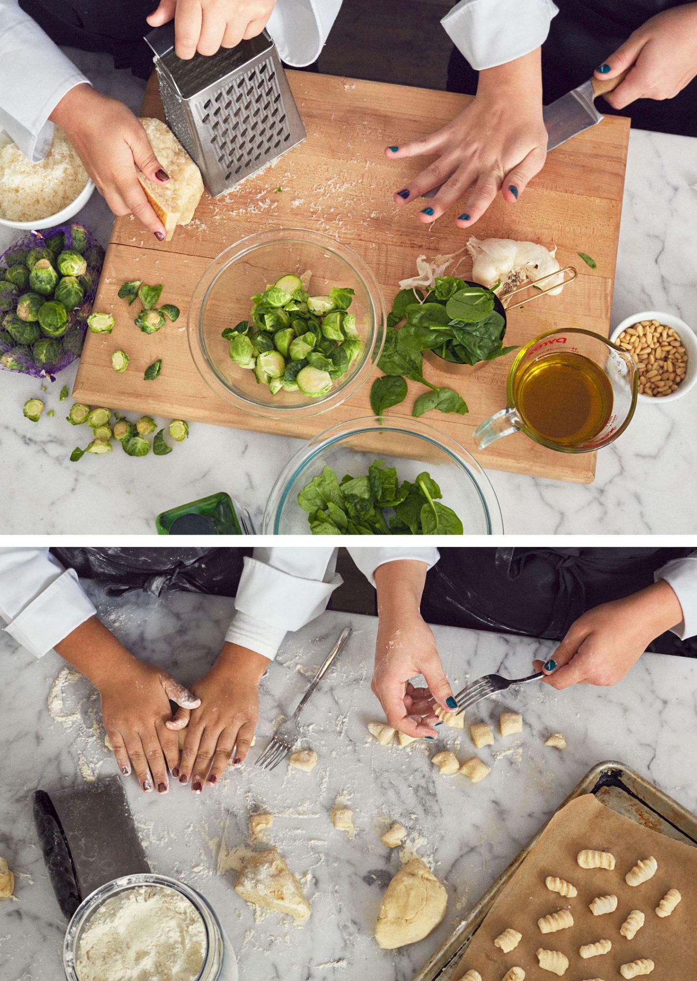 olivia acosta and nikki bidun make pesto and gnocchi