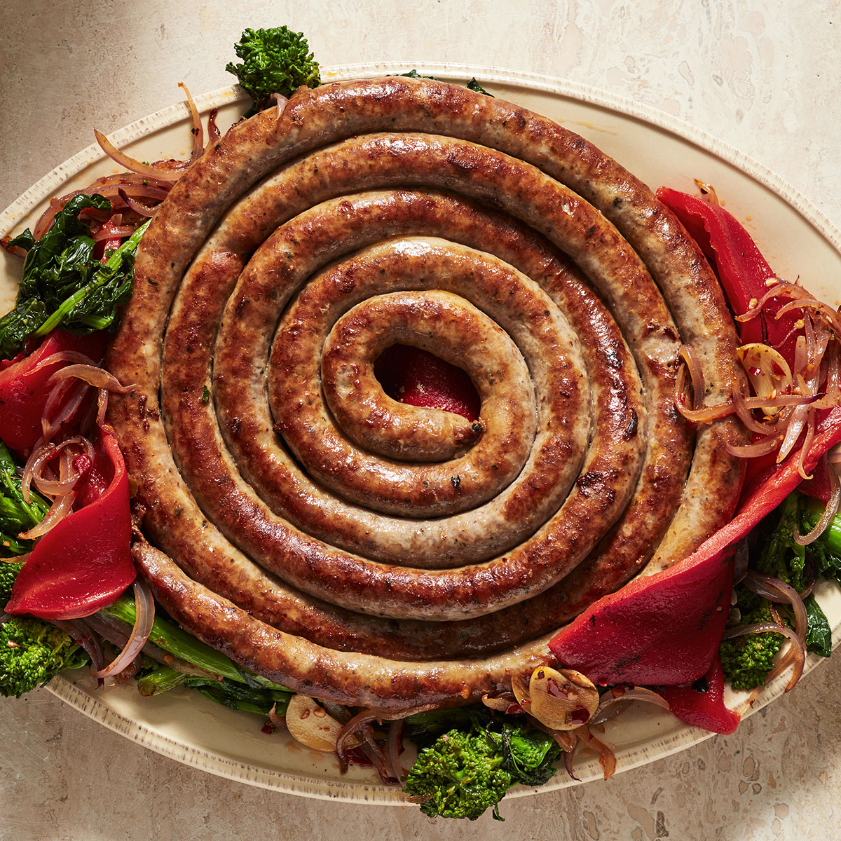 sausage peppers and broccoli rabe