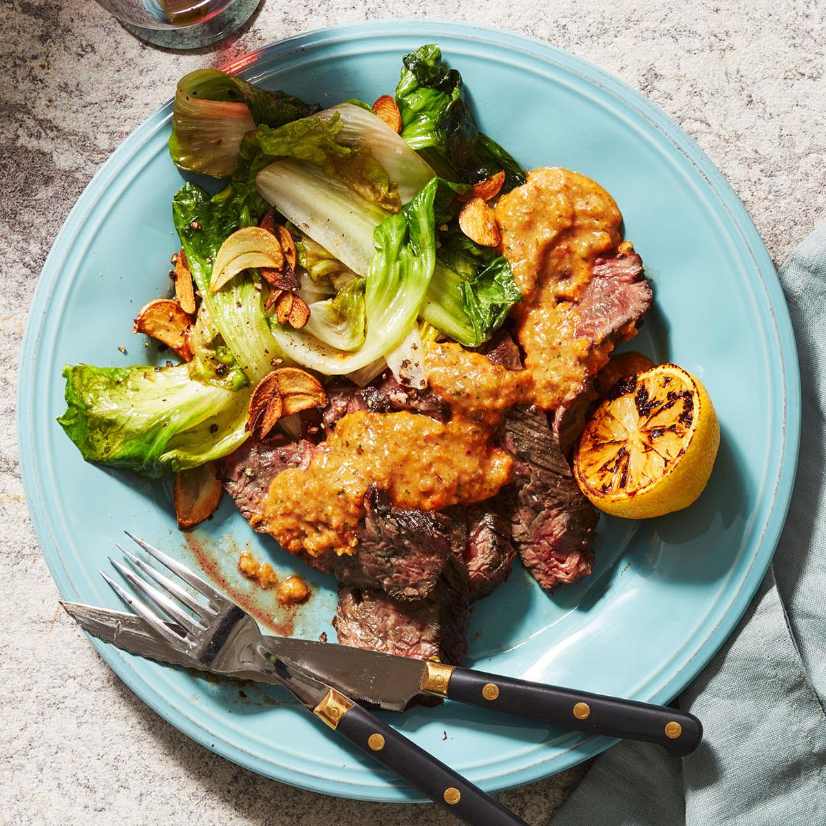 steak with romesco sauce