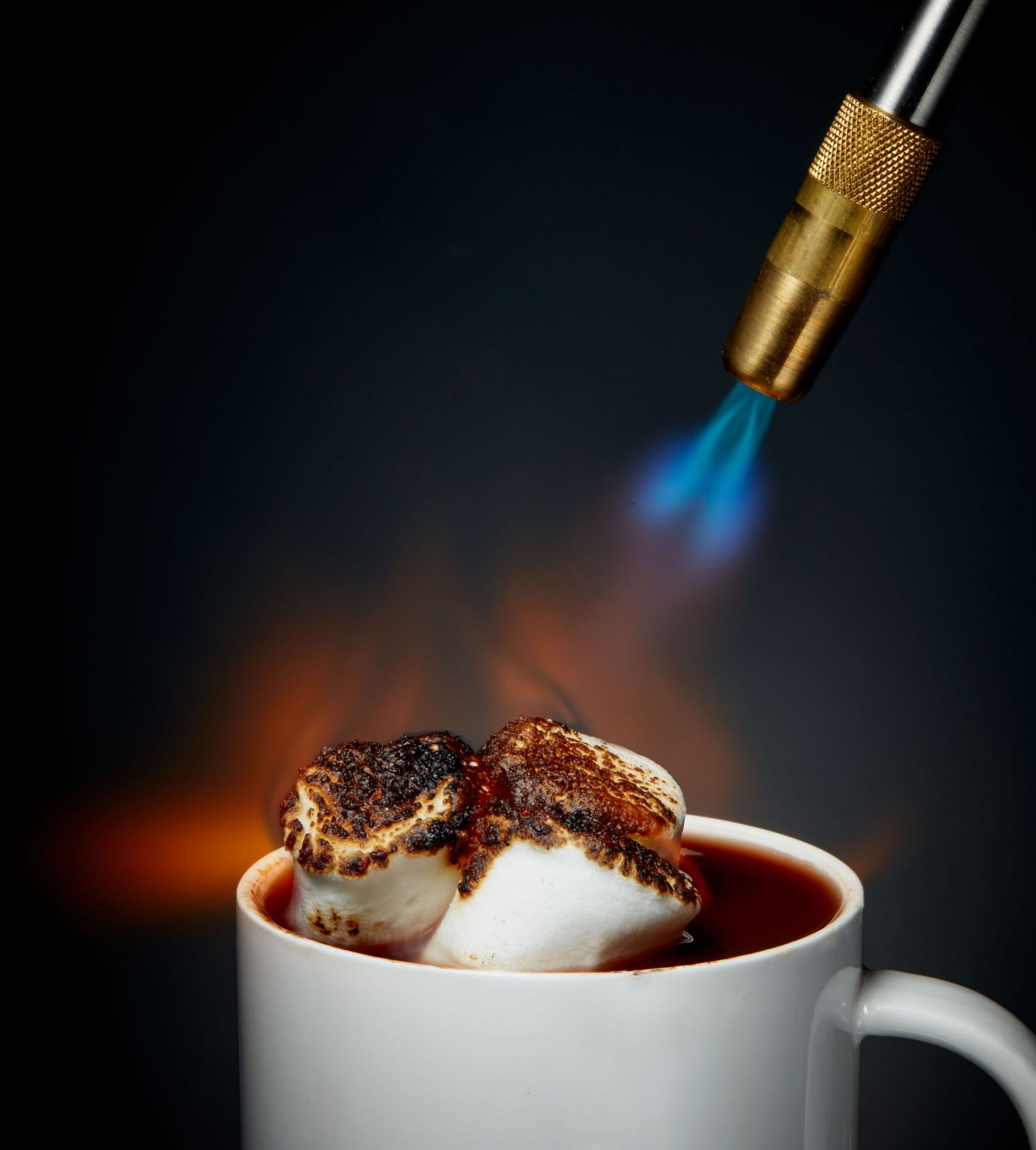 hot cocoa under blow torch