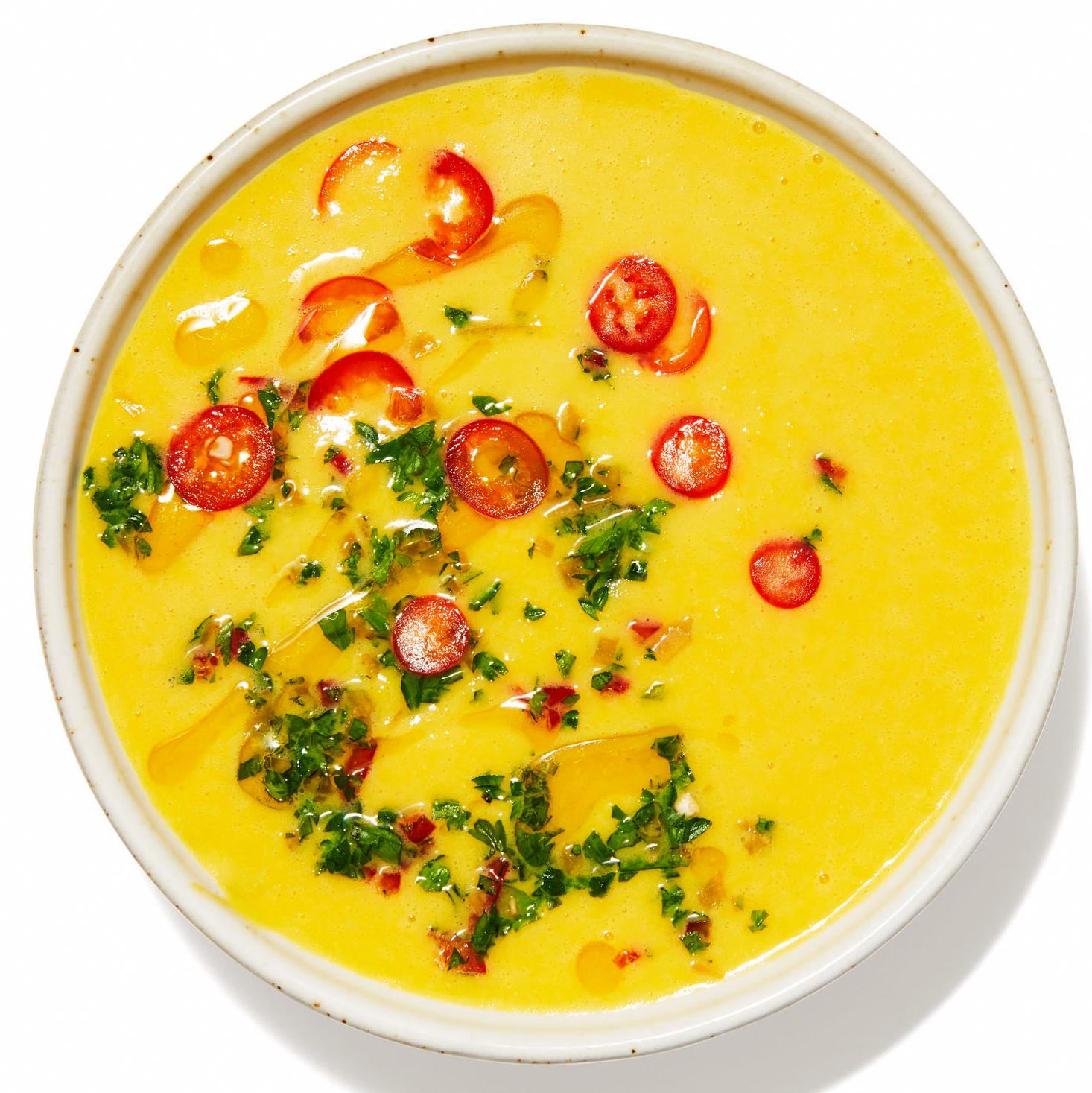 Saffron-Corn Soup in bowl