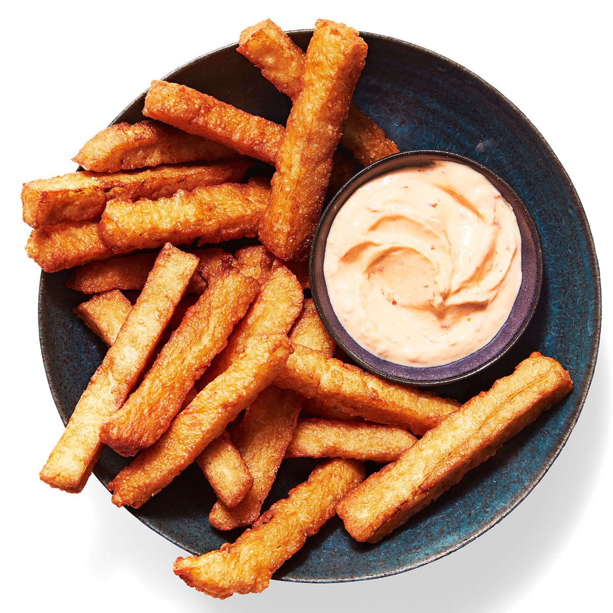 halloumi fries with dip on plate