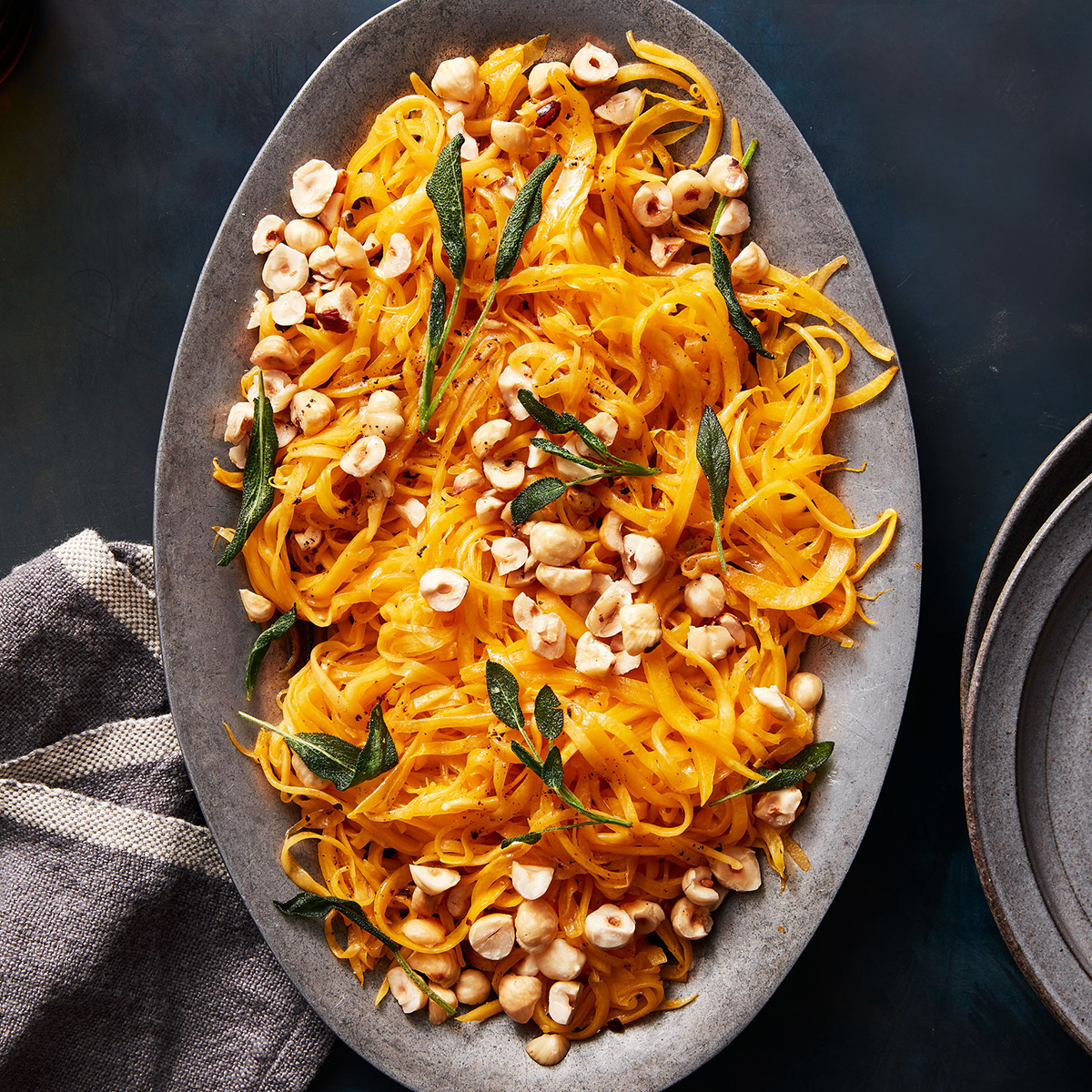 spiralized squash with sage brown butter