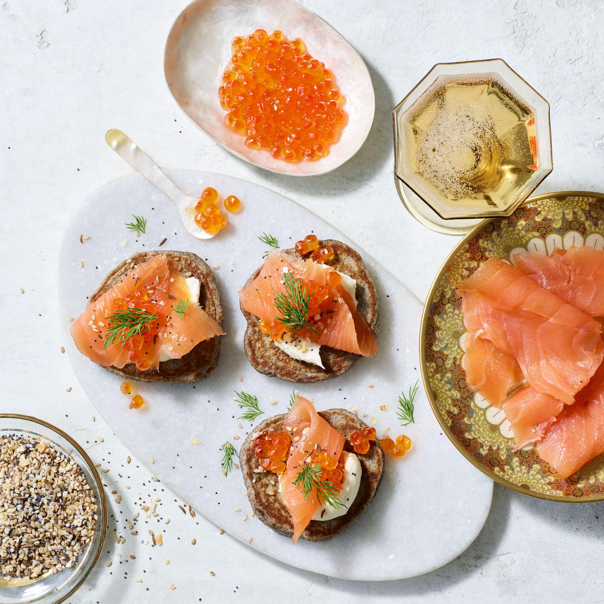everything blini with smoked salmon