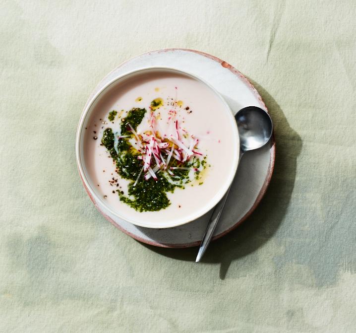 Creamy Radish Soup with Radish Greens Pistou