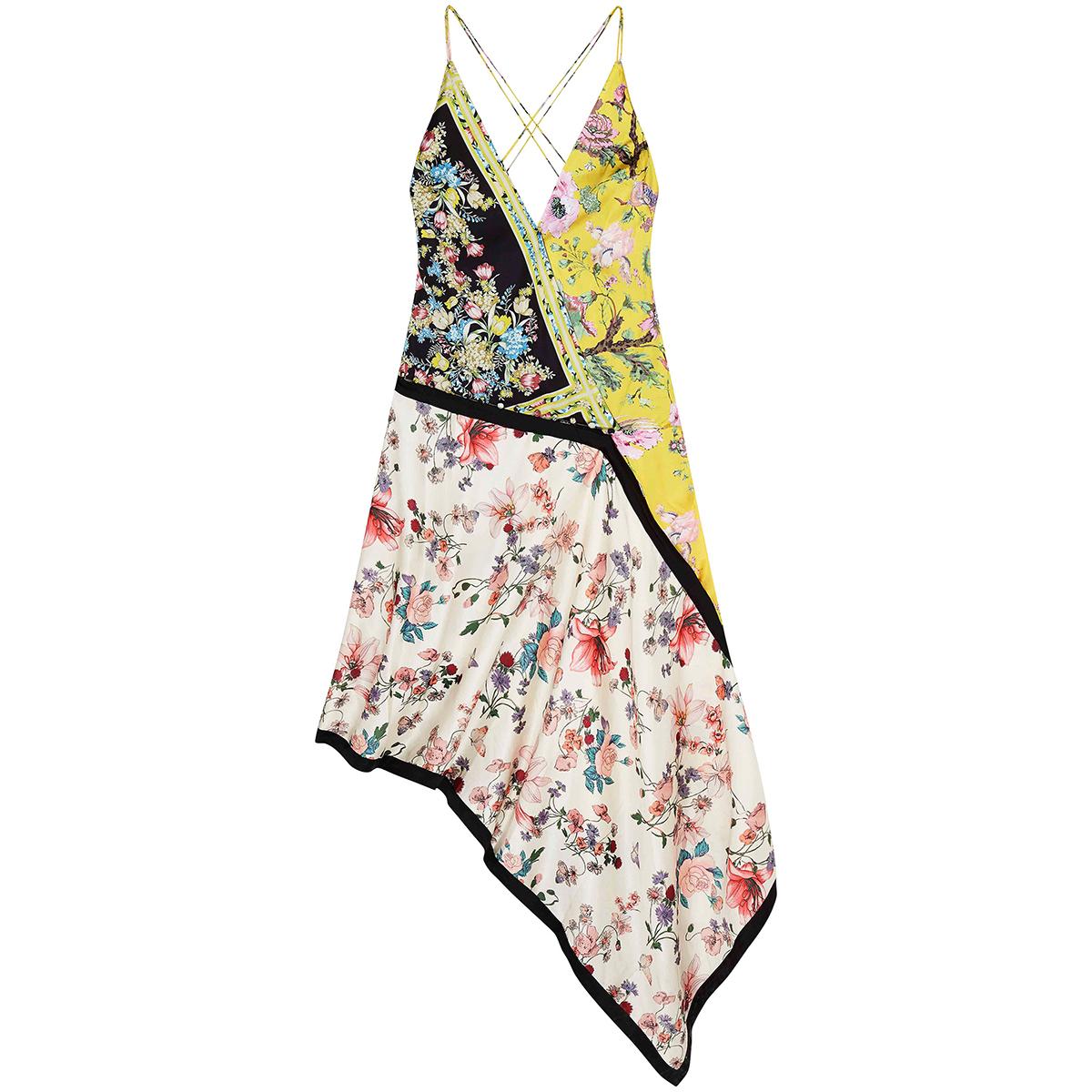 ASOS design mixed floral print asymmetrical dress