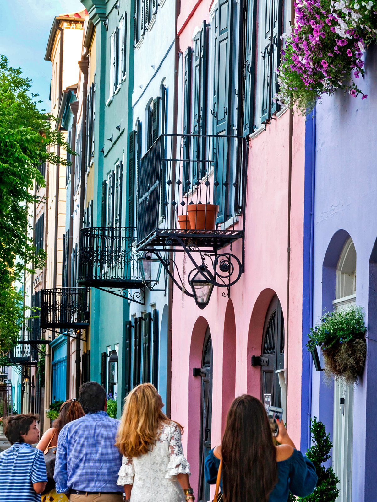 charleston colorful buildings and tourists