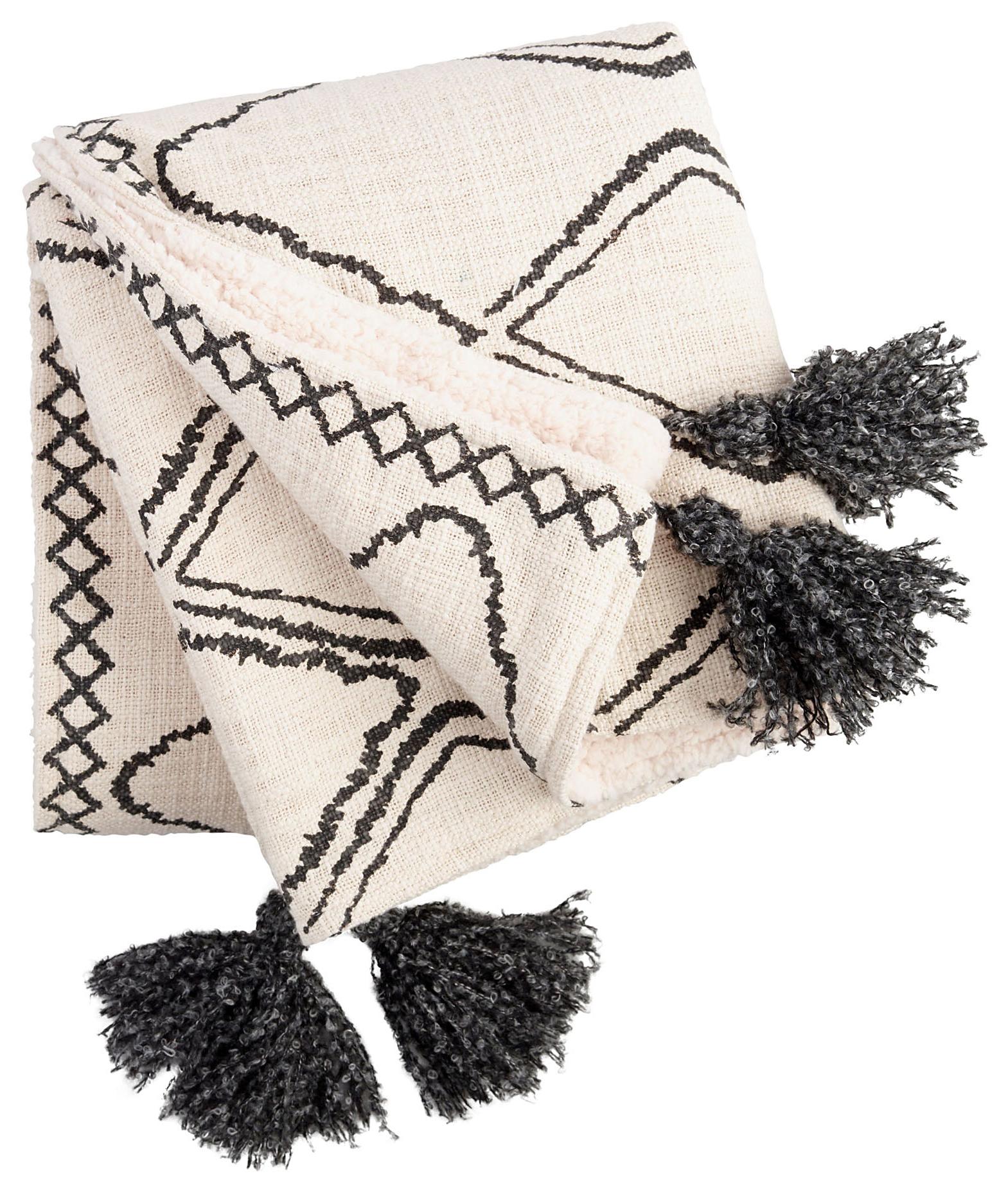 Cost Plus World Market Geometric Print Sherpa Throw Blanket